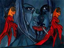 Einfluss, Ohr, Blau, Malerei