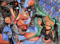 Lottchen, Doppelt, Malerei, Surreal