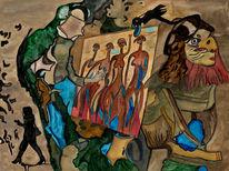 Malen, Huhn, Malerei, Surreal