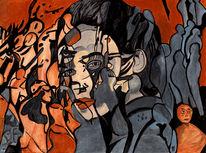 Freunde, Facebook soziale netzwerke, Malerei, Surreal
