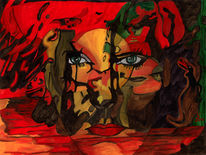 Karneval, Maskerade, Malerei, Surreal