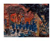 Finger katze, Galerie mondschein, Vogel, Malerei