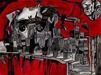 Sackgasse, Zeichen, Rot, Malerei