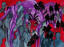 Schweben, Gefahr, Malerei, Surreal
