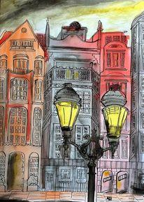 Beleuchtung, Häuser, Straße, Malerei
