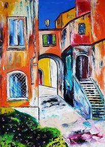 Gasse, Altstadt, Toskana, Malerei