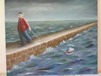 Boot, Meer, Seemann, Malerei