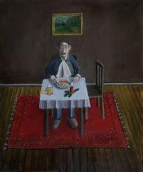 Mann bockwurst kartoffelsalat, Malerei, Menschen, Weihnachten