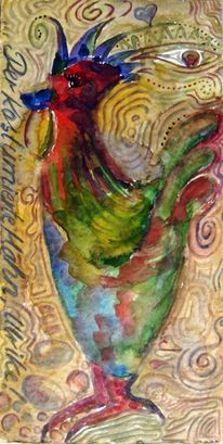 Hahn, Aquarellmalerei, Malerei