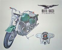 Guzzi, Moto, Motorrad, Malerei