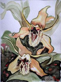 aquarellmalerei orchidee 84 bilder und ideen gemalt auf kunstnet. Black Bedroom Furniture Sets. Home Design Ideas