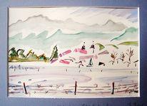 Winter, Berge, Herzogstand heimgarten, Stenogrammhaft
