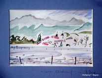 Aquarellmalerei, Herzogstand heimgarten, Eigentum, Stenogrammhaft