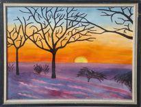 Winter, Landschaft, Ölmalerei, Mittelfranken