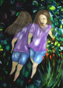 Freude, Garten, Menschen, Ölmalerei