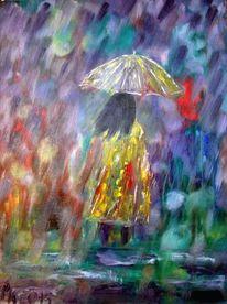 Ölmalerei, Gewitter, Regen, Malerei