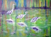 Tiere, Ölmalerei, Vogel, Reiher