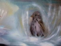 Ölmalerei, Tiere, Spatz, Vogel
