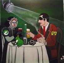 Blind, Frau, Tisch, Mann