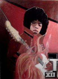 Hendrix, Gitarre, Malerei, Figural