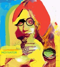 Motivator, Frau, Brille, Digitale kunst