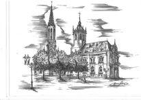 Kirche, Rathaus, Gebäude, Zeichnung