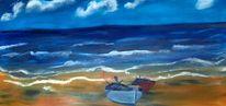 Landschaft, Fischerboot, Meer, Malerei
