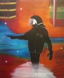 Abstrakt, Ölmalerei, Gegenwartskunst, Policeman