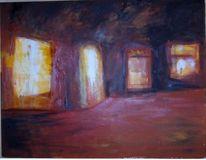Licht wärme dunkelheit, Malerei, Tür