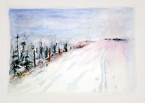 Aquarellmalerei, Winter, Loipe, Schonung