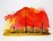 Acrylmalerei, Aquarellmalerei, 2013, Großstadt