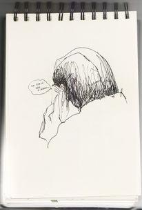 Zeichnungen, Handy, Gehen, Menschen