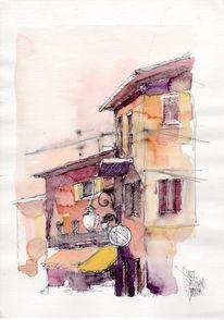 Stadt, Haus, Italien, Aquarellmalerei