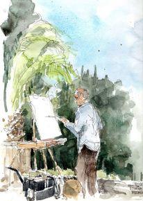 Botanischer garten, Zeichnung, Berlin, Aquarellmalerei