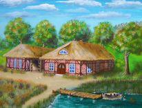 Sonne, See, Bauernhof, Malerei