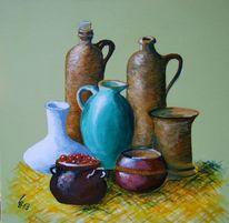 Steingut, Stillleben, Keramik, Acrylmalerei