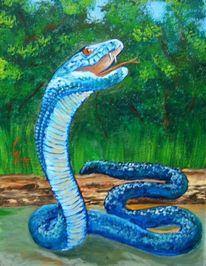 Tiere, Waldtier, Acrylmalerei, Schlange