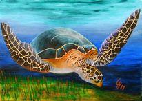 Sonne, Acrylmalerei, Meeresschildkröte, Malerei