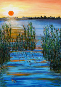 See, Sonne, Morgen, Acrylmalerei