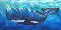 Acrylmalerei, Meer, Pottwal, Wal