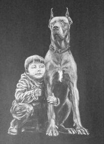Zeichnung, Hund, Freunde