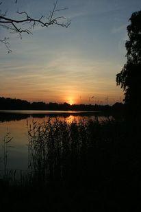 See, Natur, Dämmerung, Sonnenuntergang