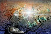 Natur, Katze, Katzenart, Fantastische kunst