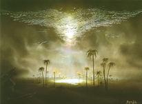 Singvogel, Gemälde, Wolken, Wüstensand