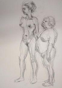 Figural, Malerei, Bleistiftzeichnung, Figur