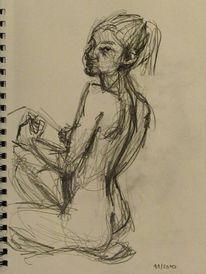 Bleistiftzeichnung, Akt, Frau, Erotik