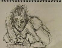 Selbstportrait, Bleistiftzeichnung, Spiegel, Zeichnen