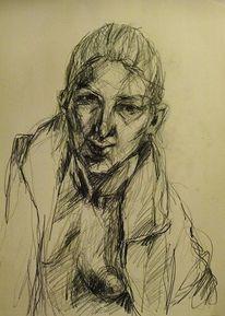 Spiegel, Bleistiftzeichnung, Zeichnen, Selbstportrait