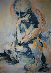 Mann, Orange, Acrylmalerei, Warten