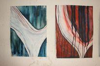 Schwingen, Aquarellmalerei, Blau, Linie